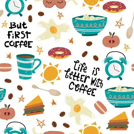 Vector seamless pattern with breakfast symbols. Morning coffee. Life is better with coffee. Foto de archivo - 139388728