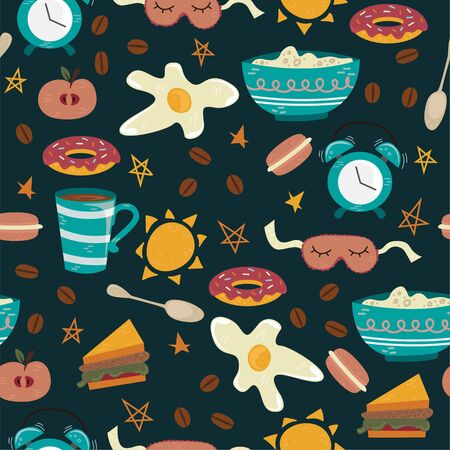 Vector seamless pattern with breakfast symbols. Morning coffee.