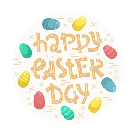 Vector easter lettering with Easter eggs with doodles - Happy Easter day. Foto de archivo - 140466093