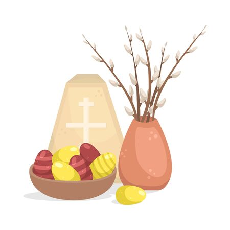 Easter illustration with a easter eggs, willow twigs and cottage cheese Easter. Foto de archivo - 140466116