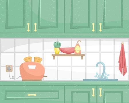 Kitchen interior with wooden cabinets. Sink and toaster on the countertop. Flat vector illustration.