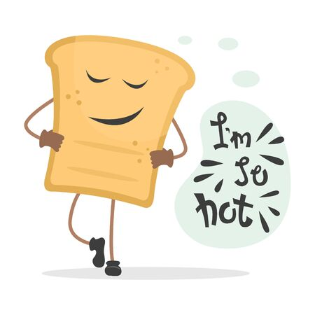 Cool toast with lettering - I'm so hot. Flat vector illustration. Illustration