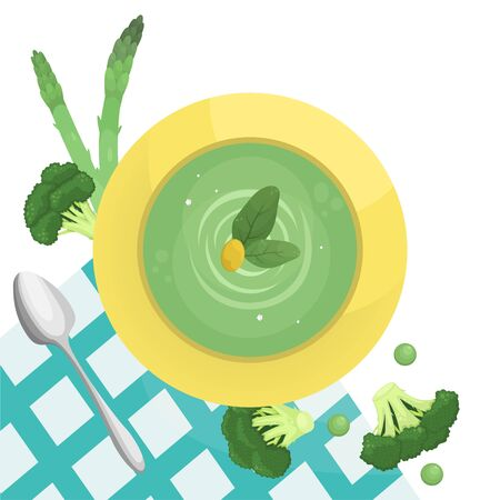 Flat lay illustration with broccoli cream soup, asparagus and peas. Healthy food, vegetarianism.