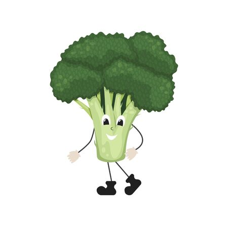 Green broccoli inflorescence. Healthy food, vegetarianism. Isolated flat vector illustration.