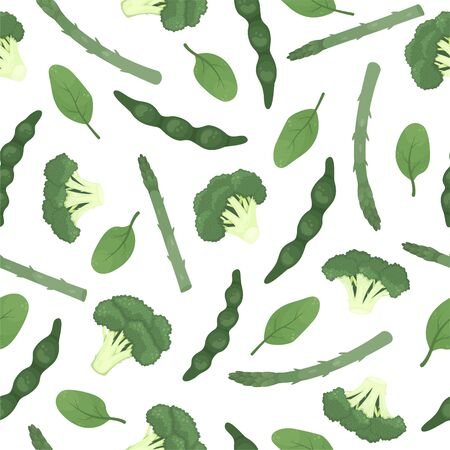 Flat seamless pattern with broccoli, green beans, asparagus, peas, spinach. Healthy food, vegetarianism. Vector Illustratie