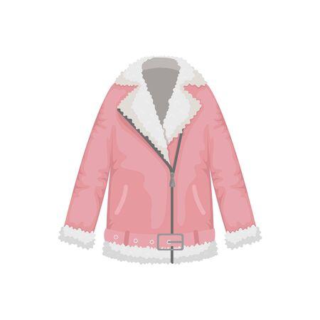 Flat vector women's sheepskin coat in biker style. Women's clothing.