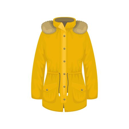 Flat vector women's parka with a fringe on the hood. Women's clothing.