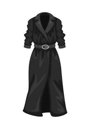 Flat vector women's black trench coat with 3/4 sleeves. Women's clothing.