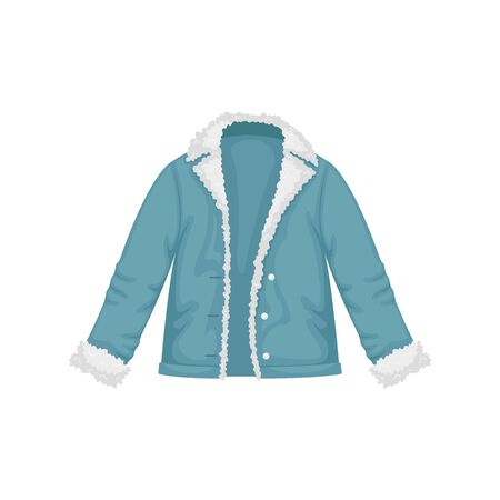 Flat vector womens denim jacket with fur. Womens clothing.