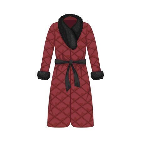 Flat vector quilted winter women's coat with fur collar. Women's clothing. Vector Illustratie