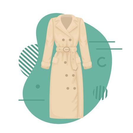 Flat vector women's classic trench coat. Women's clothing. Vectores