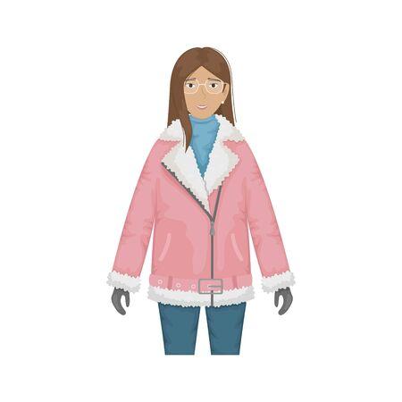 Flat vector illustration of a fashionable girl in a pink biker sheepskin coat. Stock Illustratie
