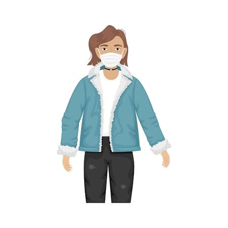 Flat vector illustration of a fashionable girl in a denim jacket with fur and trendy glasses and protective masks against viruses. Prevention of the coronavirus epidemic.