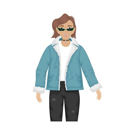 Flat vector illustration of a fashionable girl in a denim jacket with fur and trendy glasses.