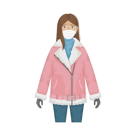 Flat vector illustration of a fashionable girl in a pink biker sheepskin coat and protective masks against viruses. Prevention of the coronavirus epidemic.
