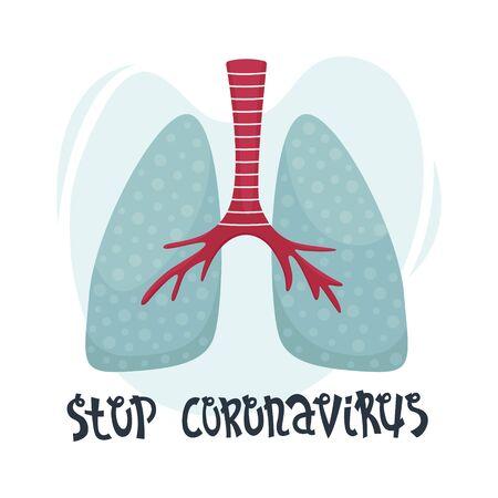 Vector flat illustration of human lungs. Fighting the coronavirus. Stop coronavirus. 向量圖像