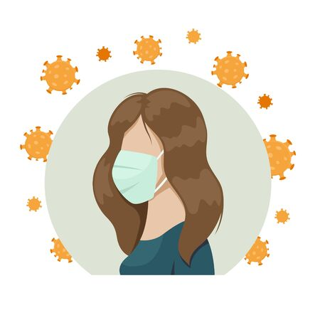A girl in a medical mask. Protective measures against viruses. Prevention of coronavirus.