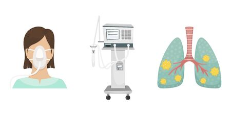 The patient is lying in the hospital on a ventilator. Fighting the coronavirus. Ventilator, lungs with covid-19