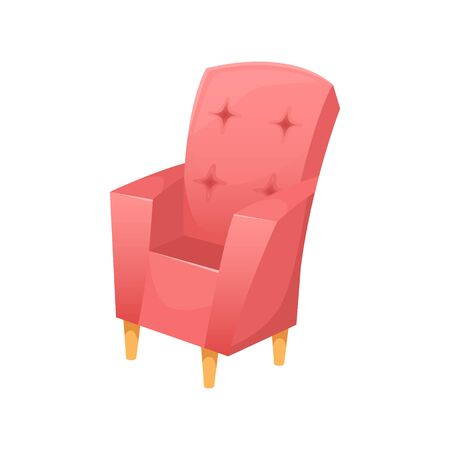 Fashionable beautiful upholstered armchair with wooden legs. Vector interior.