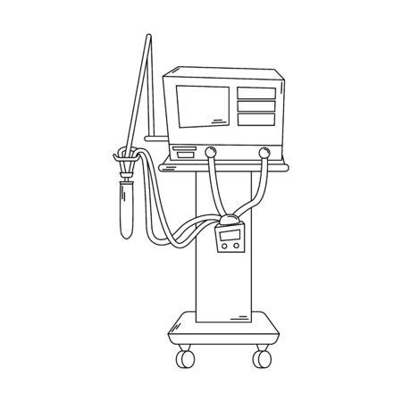 Hospital ventilator. Fighting the coronavirus. Medical equipment. Line art