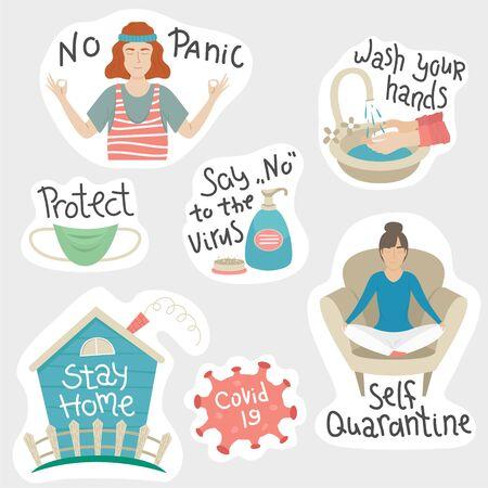 The set of coronavirys stickers. Self quarantine, stay home, no panic. Prevention Covid-19