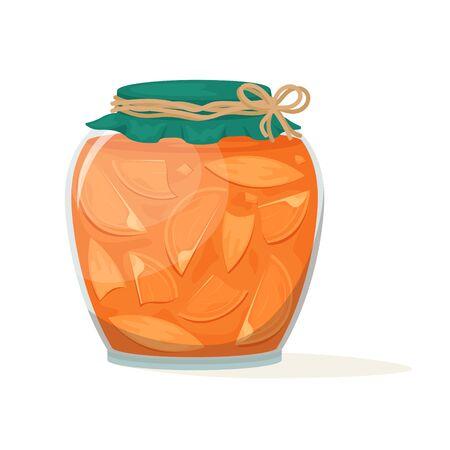 Delicious persimmon jam in a beautiful jar. Vector illustration. Dessert.