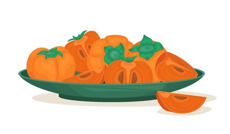 A plate of ripe persimmons. Persimmon whole and pieces. Vector illustration of fruit.