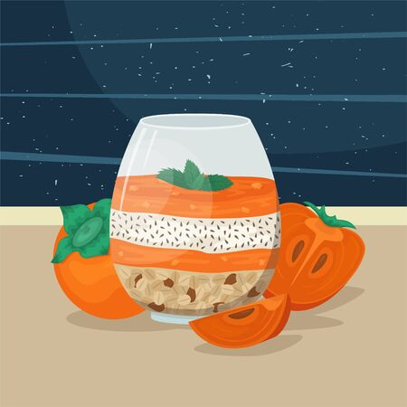 Smoothie bowl with persimmon, Chia seeds and granola with nuts. Super food. Trendy hipster Breakfast.  イラスト・ベクター素材