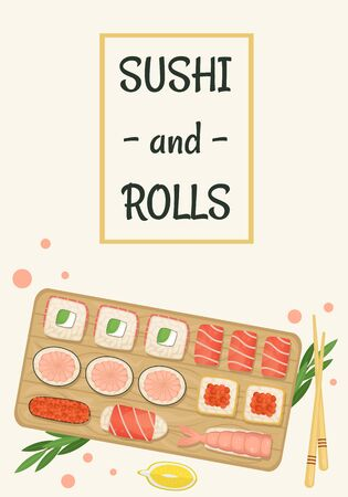 Set of sushi and rolls on a wooden Board. Japanese food. Flat lay illustration.