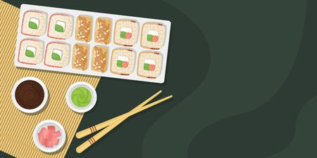 Set of sushi and rolls on a wooden Board with soy sauce, wasabi and ginger. Japanese food. Vector template with space for text.