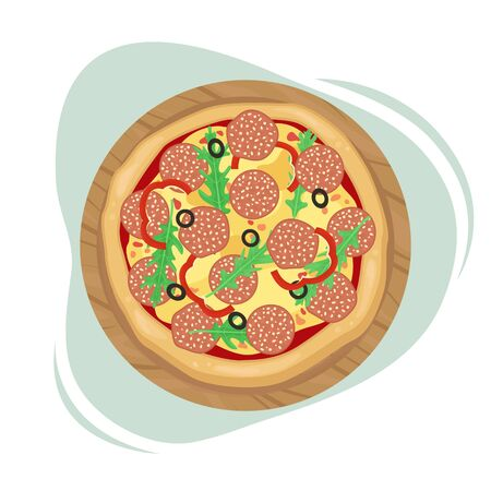 Pizza with salami, olives and cheese. The view from the top. Vector illustration.