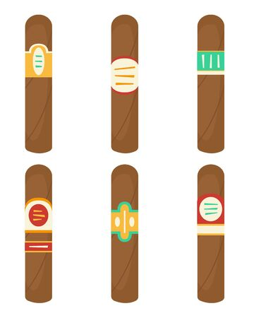 Flat vector set with cigars with different labels.