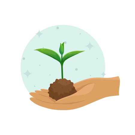 A young sprout in a clump of soil. Vector illustration. Seedling planting season. Subsistence farming.
