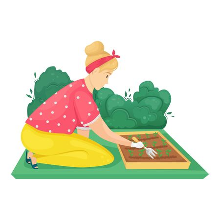 The girl is sitting on her knees and loosening a bed of plantings. Vector illustration. Seedling planting season. Subsistence farming. Vettoriali