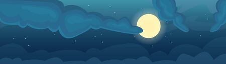 Night sky with moon, stars and clouds. Full moon. Dark time.