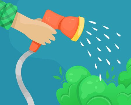 Vector hose with water nozzle in hand. Watering of plantings. Ilustração