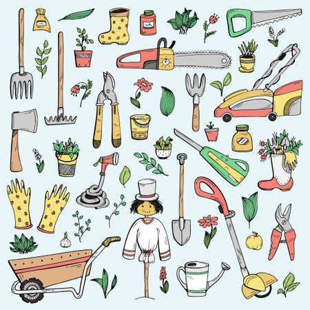 A set of hand-drawn doodles about a country house, garden equipment, and growing vegetables. 일러스트