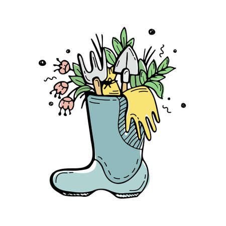 Plants and flowers, gardening tools in a rubber boot. Hand-drawn doodles.