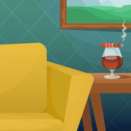 Vector illustration of a cozy room with a comfortable upholstered chair, a picture on the wall and a glass of cognac on the table.