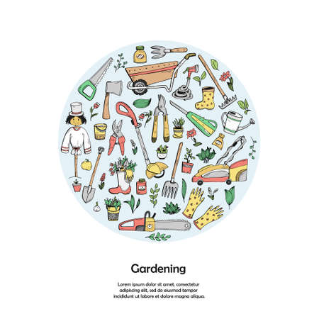 A template with a place for text of hand-drawn doodles about a country house, garden equipment, and growing vegetables.
