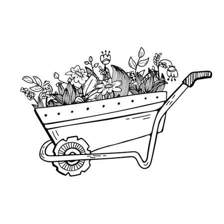 Doodle illustration of a garden wheelbarrow with plants and flowers. Floristics, gardening.