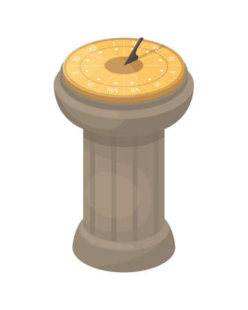 Vector illustration with a sundial. An ancient way of determining time. Ilustração