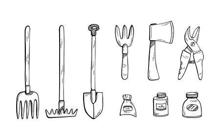 Doodle illustration of a set of gardening tools. Farming. Ilustração