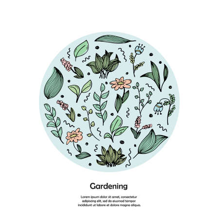 A template with the place for text and round illustration with hand-drawn doodles of flowers and plants. Color illustrations