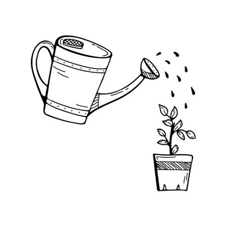 Doodle illustration with a watering can watering a flower. Gardening