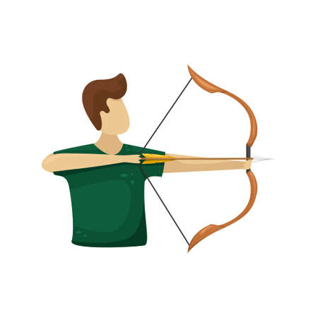Vector illustration of a man shooting a wooden bow with a bowstring and arrow. 向量圖像
