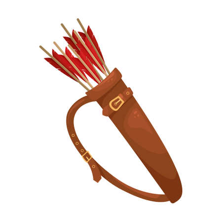 Vector illustration of a leather quiver with arrows for a bow. 向量圖像