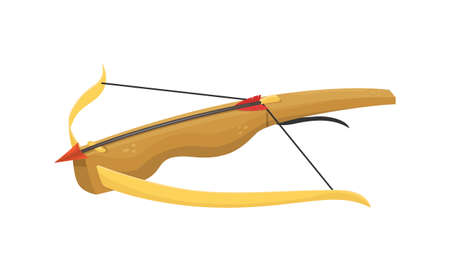 Vector illustration of an ancient wooden crossbow. 向量圖像