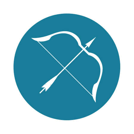 Vector illustration of a wooden bow with a bowstring and arrow.