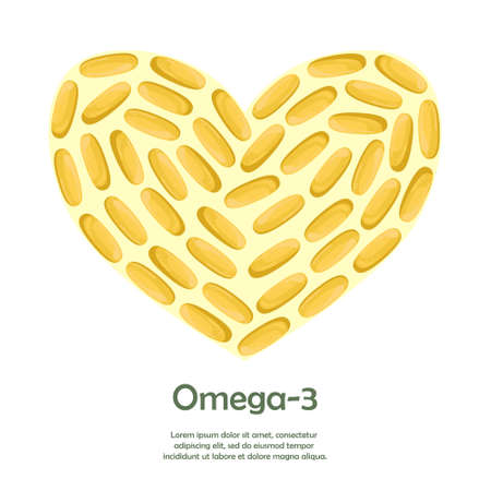 Template with space for text with fish oil capsules. Biologically active additive. Omega-3